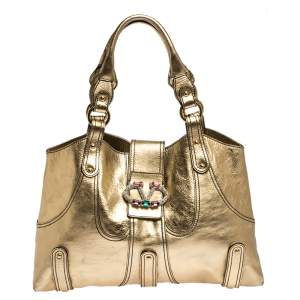 Valentino Metallic Gold Leather Crystal-Embellished Catch Shoulder Bag