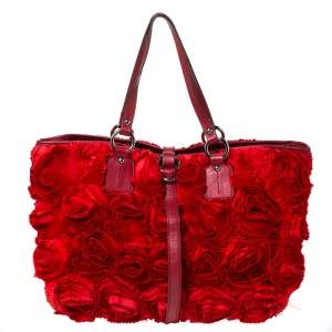 Valentino Red Floral Applique Satin and Leather Shopper Tote