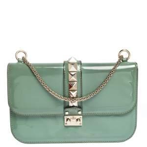 Valentino Green Patent Leather Rockstud Medium Glam Lock Flap Bag
