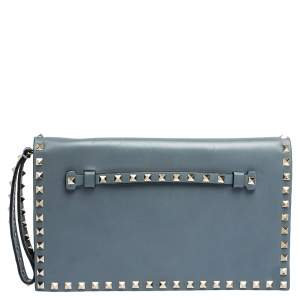Valentino Blue Dust Leather Rockstud Wristlet Clutch