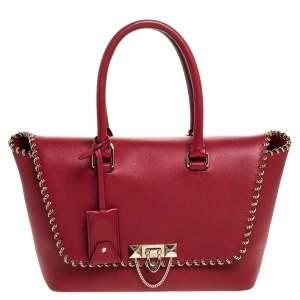Valentino Red Leather Demilune Tote