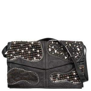 Valentino Black Leather Embellished Shoulder Bag