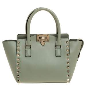 Valentino Mint Green Leather Mini Rockstud Trapeze Tote