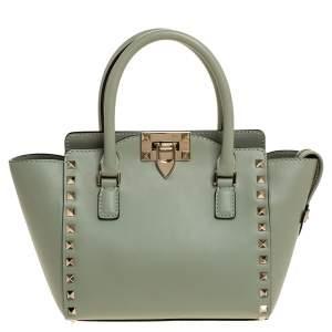 """حقيبة يد فالنتينو """"ترابيز"""" مرصعة بروكستد صغير جلد خضراء مينت"""