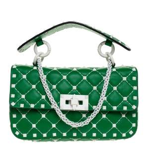 Valentino Green Quilted Leather Small Rockstud Spike Chain Shoulder Bag