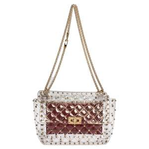 Valentino Clear/Red PVC Medium Rockstud Spike Chain Shoulder Bag