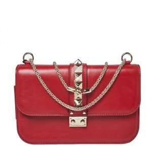 Valentino Red Leather Medium Rockstud Glam Lock Flap Bag