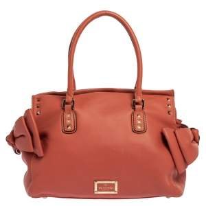Valentino Coral Orange Leather Rockstud Bow Satchel