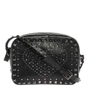 Valentino Black Leather Crystal Embellished Rockstud Camera Crossbody Bag