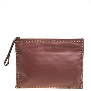 Valentino Old Rose Leather Oversized Rockstud Wristlet Pouch