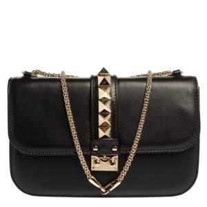 Valentino Black Leather Rockstud Medium Glam Lock Flap Bag