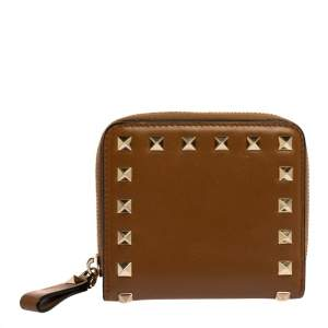 Valentino Tan Leather Rockstud Compact Wallet