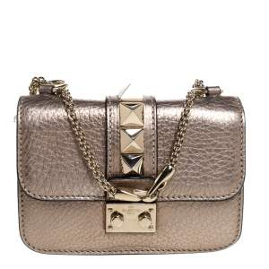 Valentino Metallic Gold Leather Mini Glam Lock Shoulder Bag