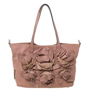 Valentino Old Rose Leather Floral Applique Tote