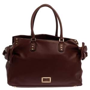 Valentino Burgundy Studded Soft Leather Bow Tote