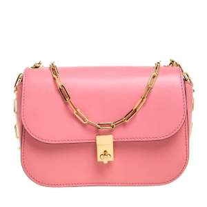 Valentino Pink Leather Flap Shoulder Bag