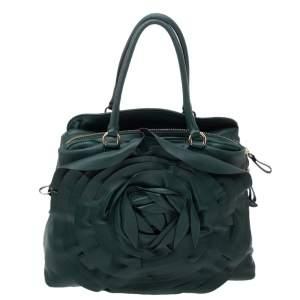 Valentino Green Leather Petale Rose Satchel