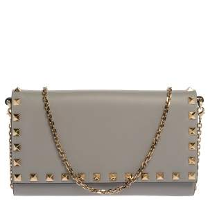 Valentino Pale Blue Leather Rockstud Wallet on Chain