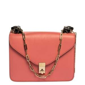 Valentino Pink Leather Small Flap Enamel Panther Shoulder Bag