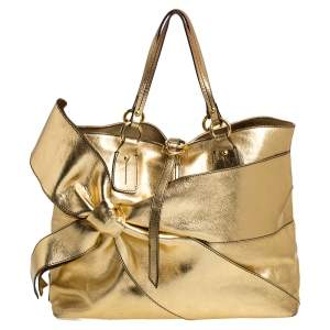 Valentino Metallic Gold Leather Bow Shopper Tote