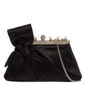 Valentino Black Satin Crystal and Pearl Embellished Bow Frame Clutch