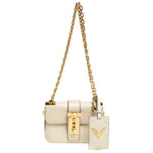 Valentino Beige Leather Small B-Rockstud Shoulder Bag