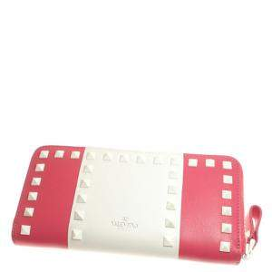 Valentino Red/White Leather Rockstud Wallet
