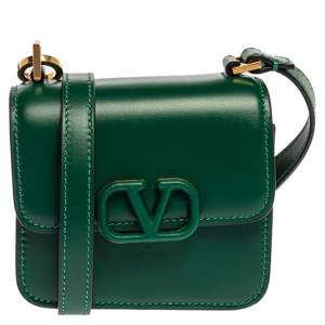 Valentino Green Leather VSling Crossbody Bag
