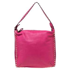Valentino Fuchsia Leather Rockstud Messenger Bag