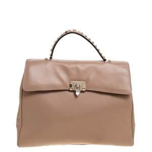 Valentino Beige Leather Rockstud Top Handle Bag