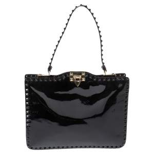 Valentino Black Patent Leather Rockstud Top Handle Bag