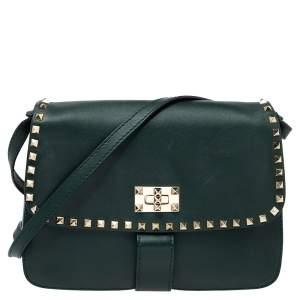 Valentino Green Leather Medium Rockstud Flap Shoulder Bag