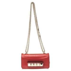 Valentino Red Leather Mini Va Va Voom Chain Shoulder Bag