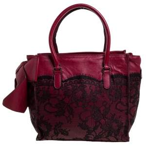 Valentino Dark Red/Black Leather and Lace Bow Tote