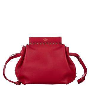 Valentino Red Leather Rockstud Drawstring Bag