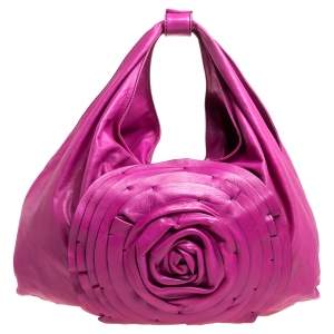 Valentino Pink Leather Large Petale Rose Hobo