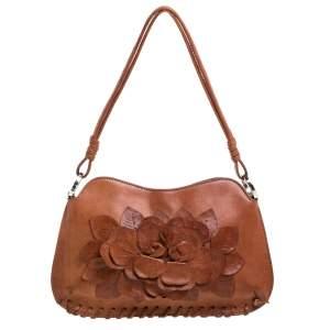 Valentino Tan Leather Floral Applique Shoulder Bag