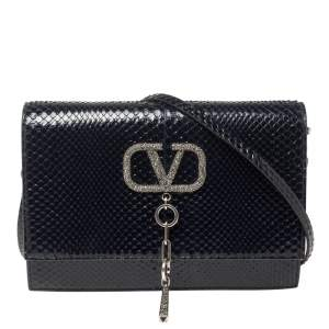 Valentino Blue Python VCASE With Swarovski Crystals Logo Shoulder Bag