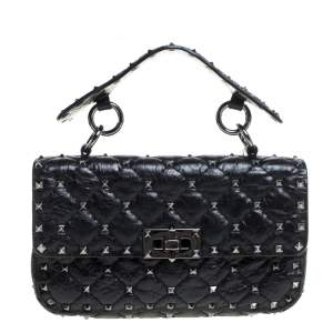 Valentino Black Quilted Soft Crackle Leather Small Rockstud Spike Shoulder Bag