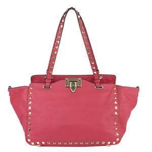 Valentino Pink Leather Rockstud Tote Bag