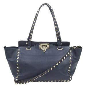 Valentino Blue Leather Rockstud Tote Bag