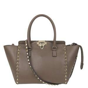 Valentino Brown Leather Rockstud Tote Bag