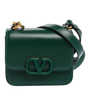Valentino Jungle Green Leather Micro VSLING Shoulder Bag
