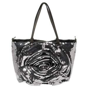 Valentino Silver/Olive Green Sequins and Leather Petale Tote
