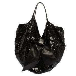 Valentino Black Sequin Bow Hobo