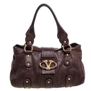 Valentino Dark Brown Leather VLogo Flap Shoulder Bag