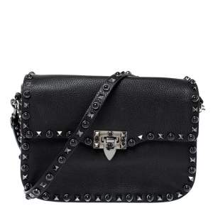 Valentino Black Leather Guitar Rockstud Rolling Crossbody Bag