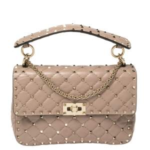 Valentino Old Rose Leather Medium Rockstud Spike Top Handle Bag