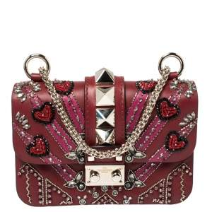 Valentino Maroon Beads Embellished Leather Mini Love Blade Rockstud Glam Lock Shoulder Bag