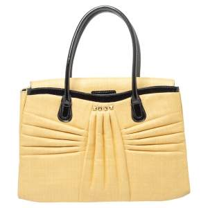 Valentino Beige/Black Pleated Straw and Patent Leather Flap Tote